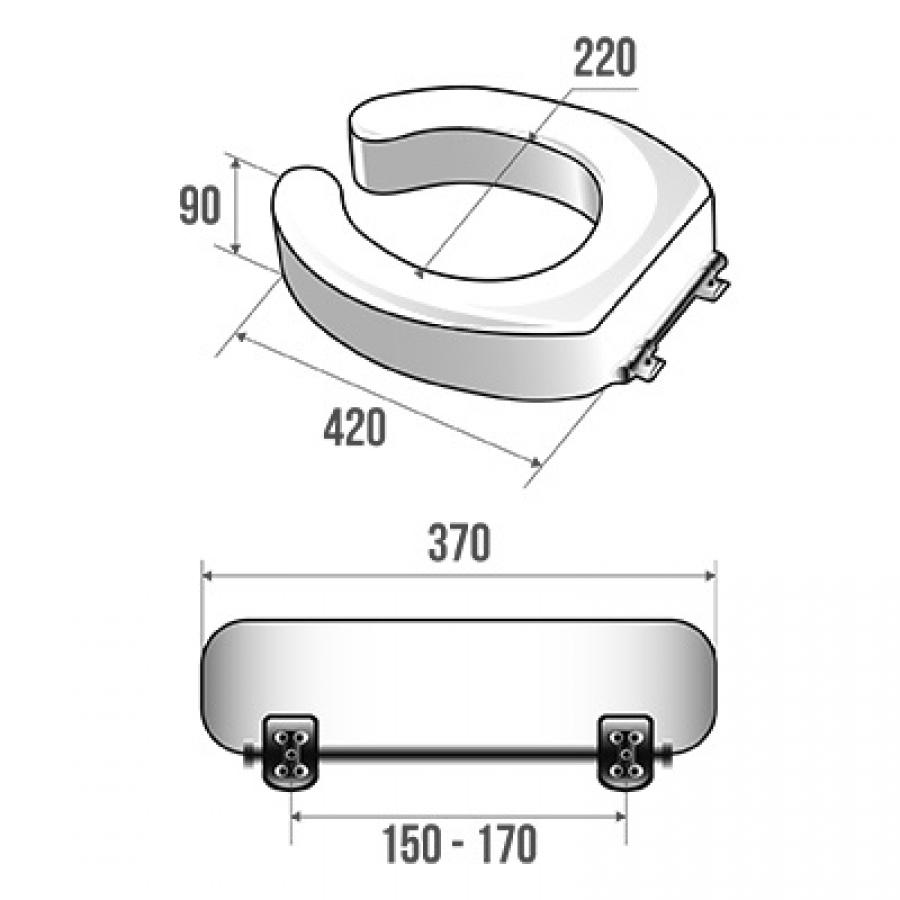 rehausse pour cuvette wc standard ht 9 cm meuble de salle de bain douche. Black Bedroom Furniture Sets. Home Design Ideas