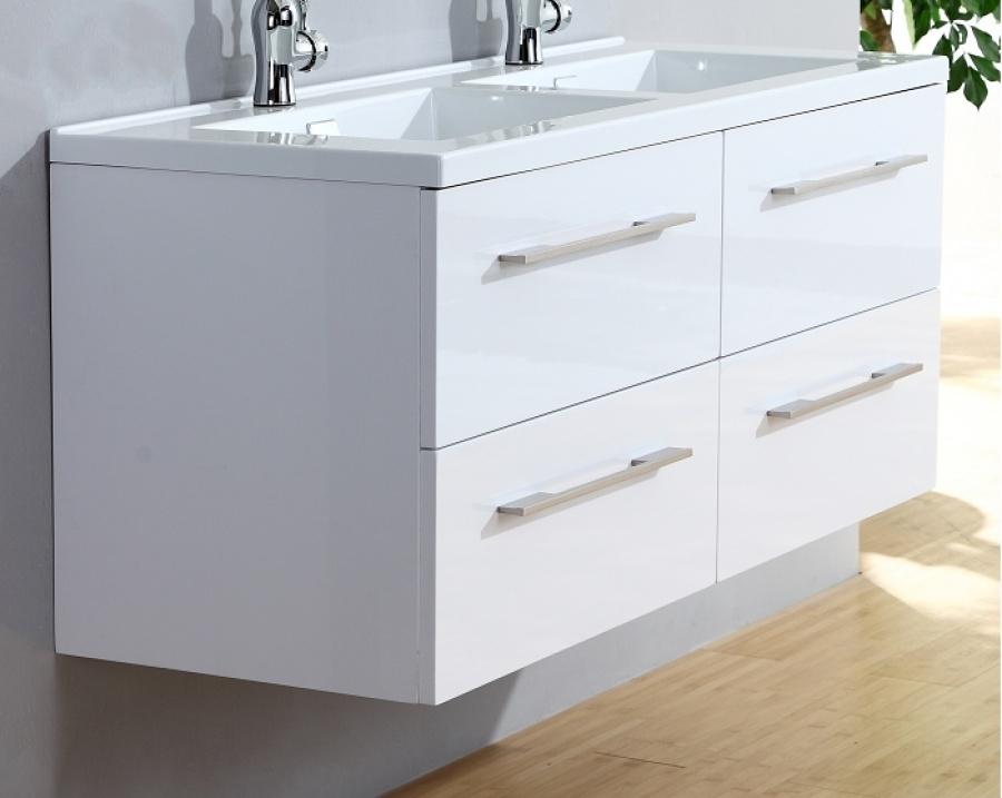 Meuble Double Vasque 120cm Saturn 20 Blanc Brillant Sans Miroir