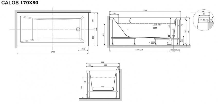 Baignoire Rectangulaire Nue Calos 170x80 Avec Tablier Façade