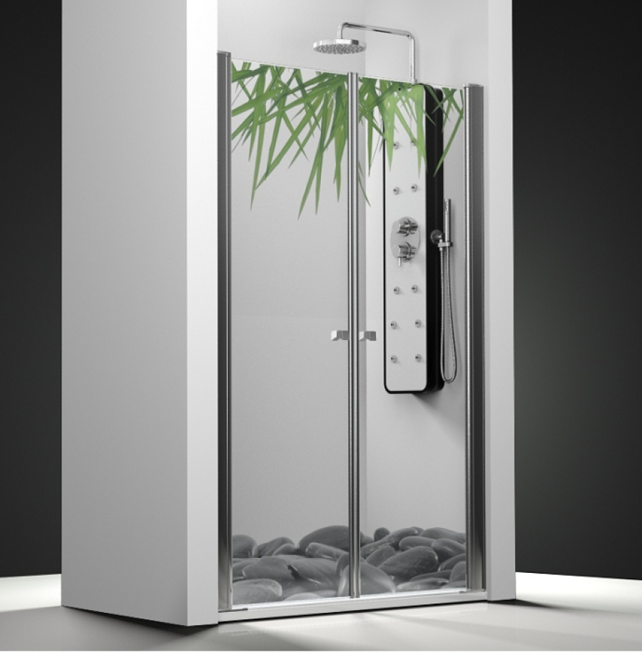 porte de douche 2 panneaux battants impression relax 60cm meuble de salle de. Black Bedroom Furniture Sets. Home Design Ideas