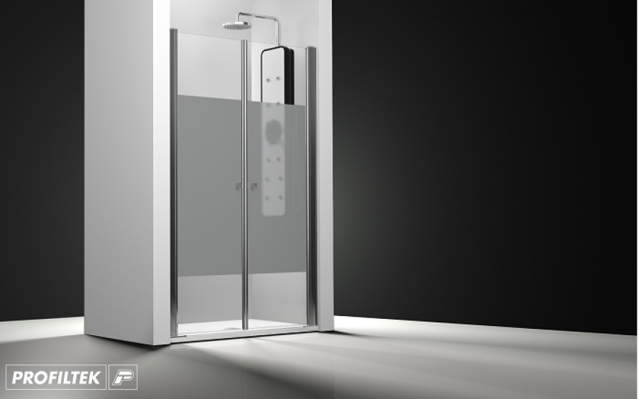 porte de douche 2 panneaux battants verre transparent bande sabl e 60cm. Black Bedroom Furniture Sets. Home Design Ideas