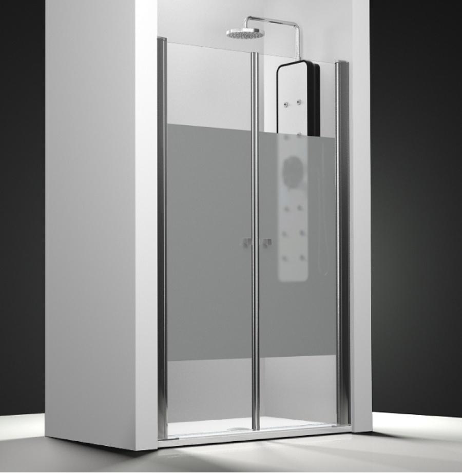 Porte de douche 2 panneaux battants verre transparent - Porte de douche battant ...