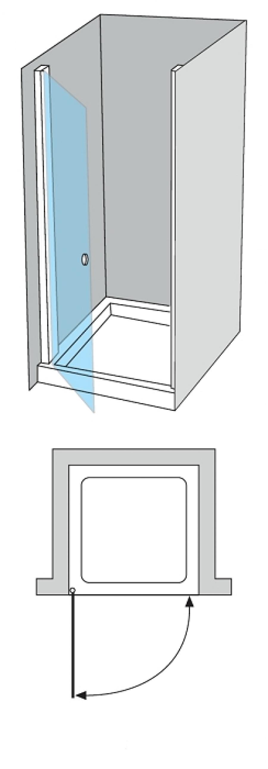 porte de douche pivotante verre fum 50cm gauche meuble de salle de bain. Black Bedroom Furniture Sets. Home Design Ideas