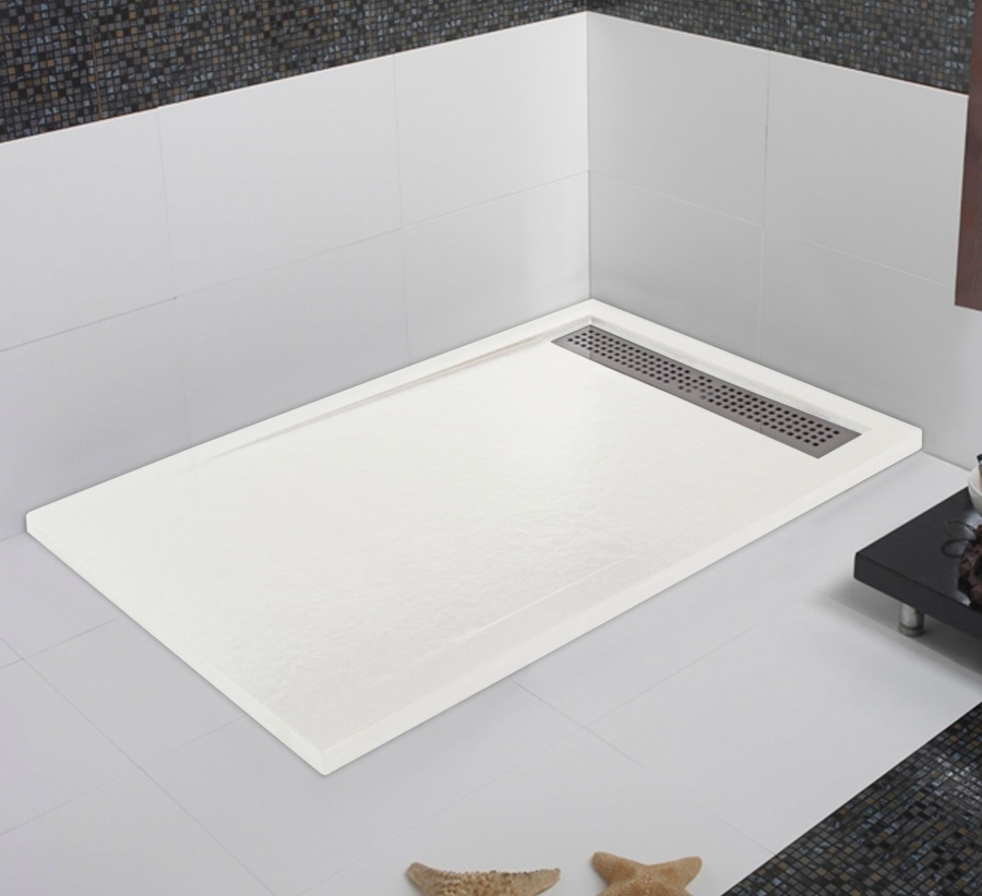 receveur de douche coulement lin aire androm de blanc 90x170 meuble de. Black Bedroom Furniture Sets. Home Design Ideas