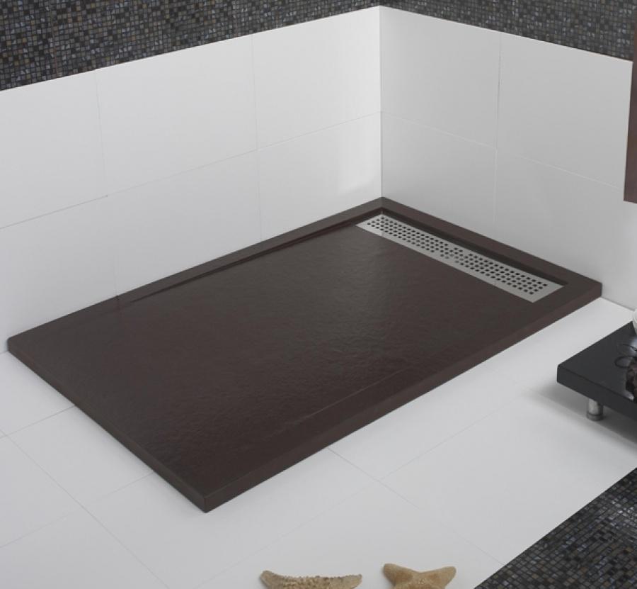 receveur de douche coulement lin aire androm de chocolat 100x160 meuble de. Black Bedroom Furniture Sets. Home Design Ideas