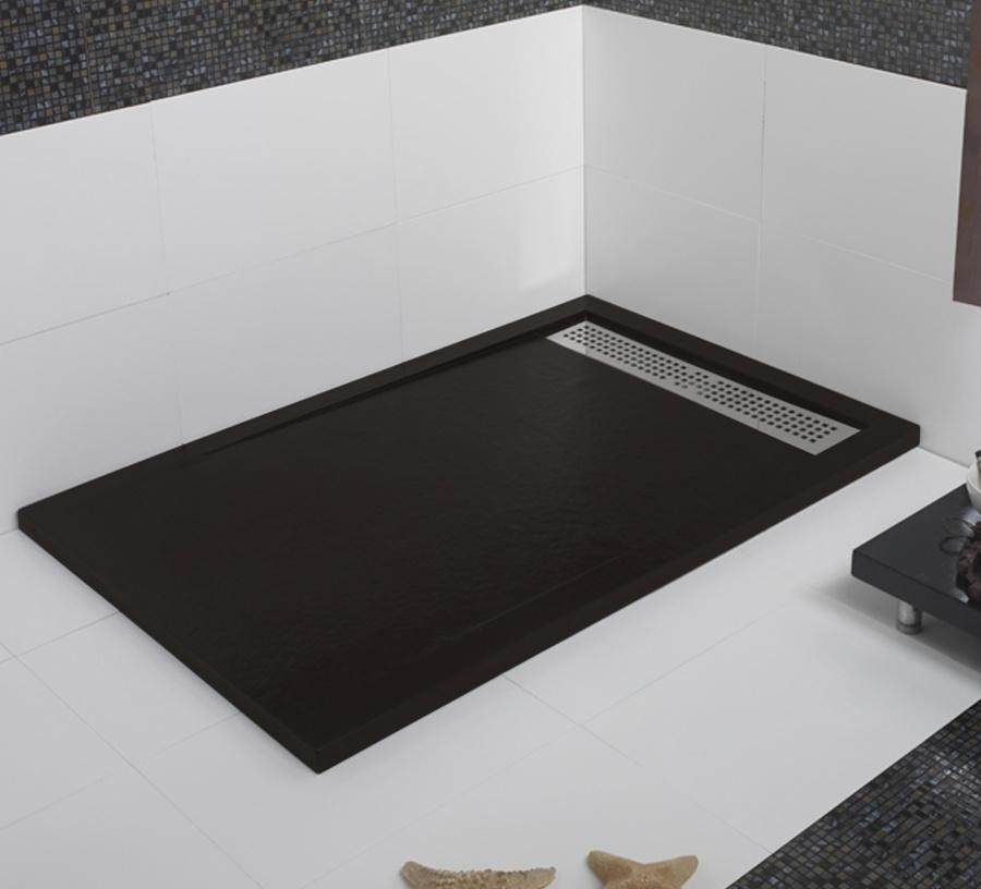 receveur de douche coulement lin aire androm de graphite 100x160 meuble de. Black Bedroom Furniture Sets. Home Design Ideas