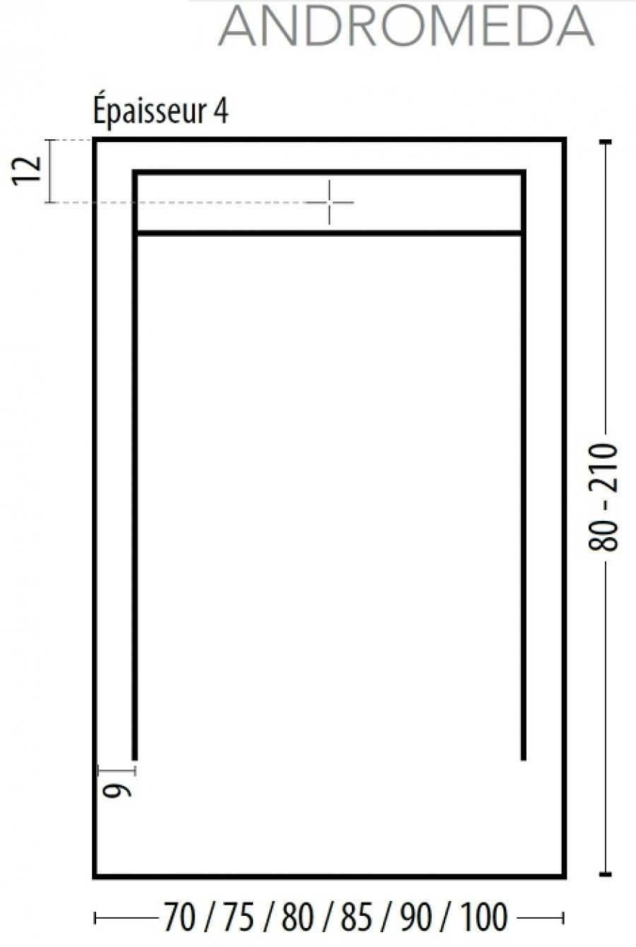 receveur de douche coulement lin aire androm de blanc 80x160 meuble de. Black Bedroom Furniture Sets. Home Design Ideas