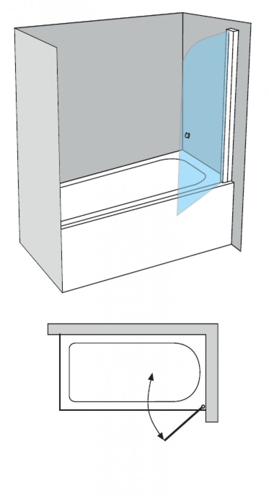 pare bain arcoiris pivotant verre fum sabl aqua 70x150. Black Bedroom Furniture Sets. Home Design Ideas
