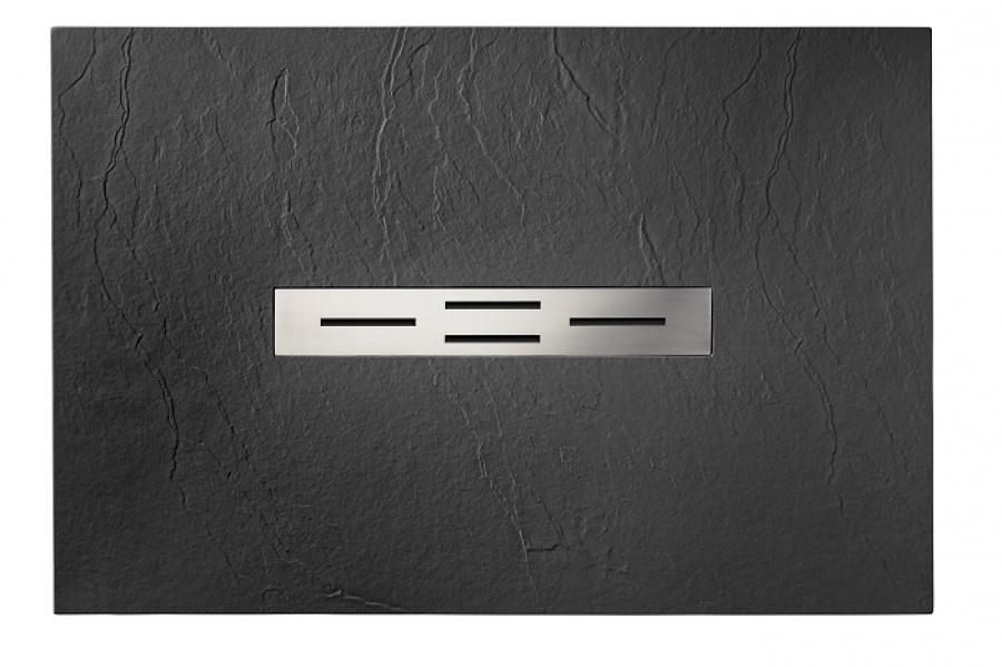 receveur de douche 70x100 noir coulement lin aire ardesia meuble de salle. Black Bedroom Furniture Sets. Home Design Ideas