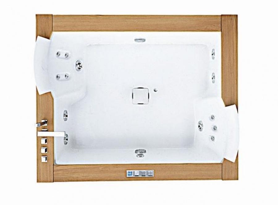 baignoire baln o 2 places aura plus 180x150 teck jacuzzi meuble de salle de. Black Bedroom Furniture Sets. Home Design Ideas