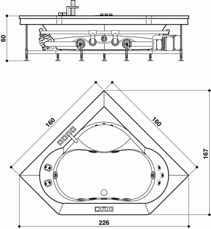 Baignoire d 39 angle aura plus corner 160x160 tablier bois for Baignoire angle petite taille