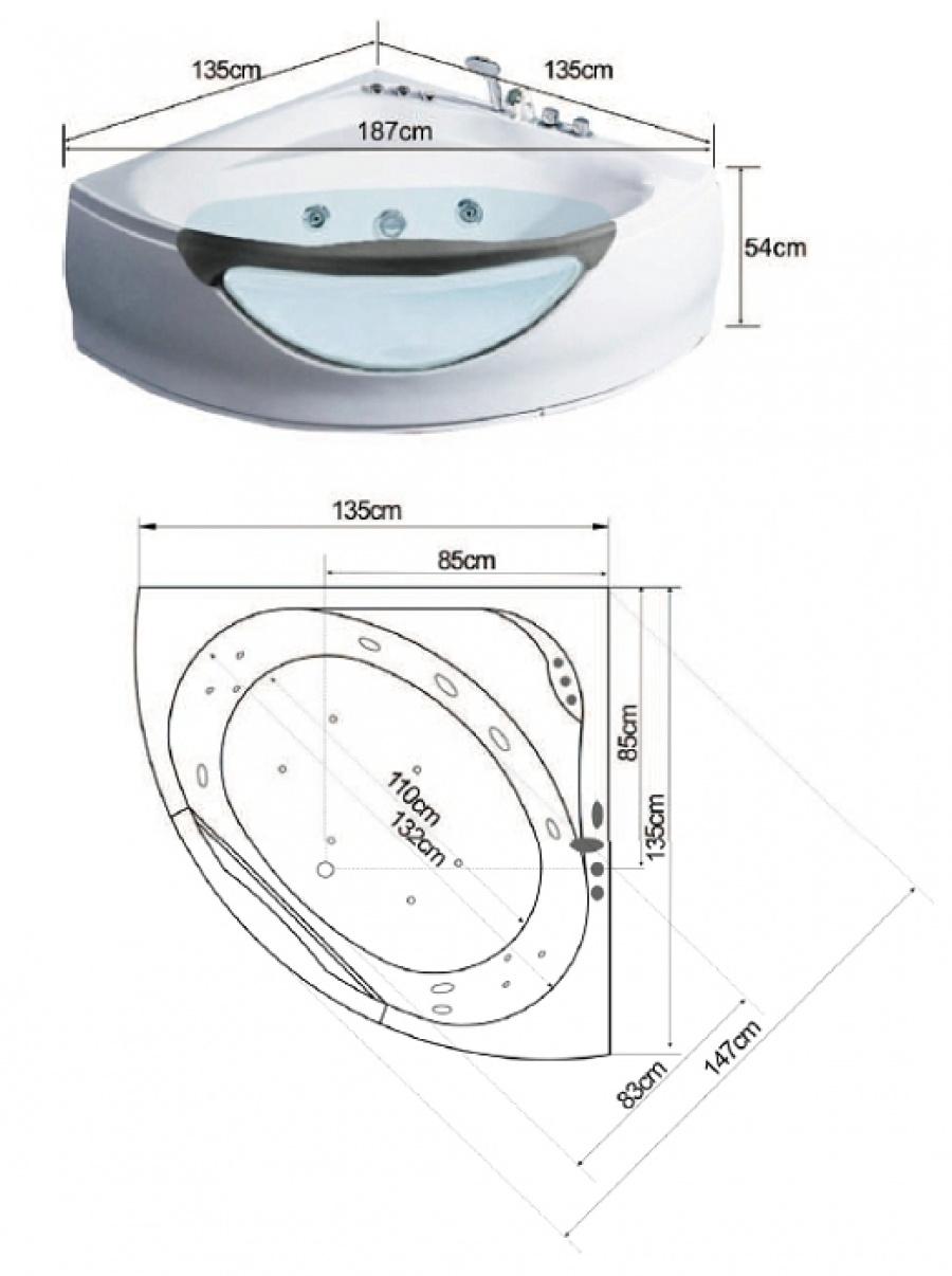baignoire d 39 angle baln o 135x135 caraibes sanitairepro