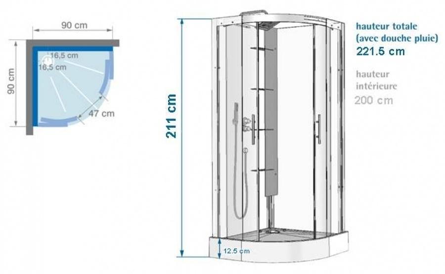 Cabine de douche flotille 3 90x90 1 4 rond meuble de sall - Dimension cabine de douche ...