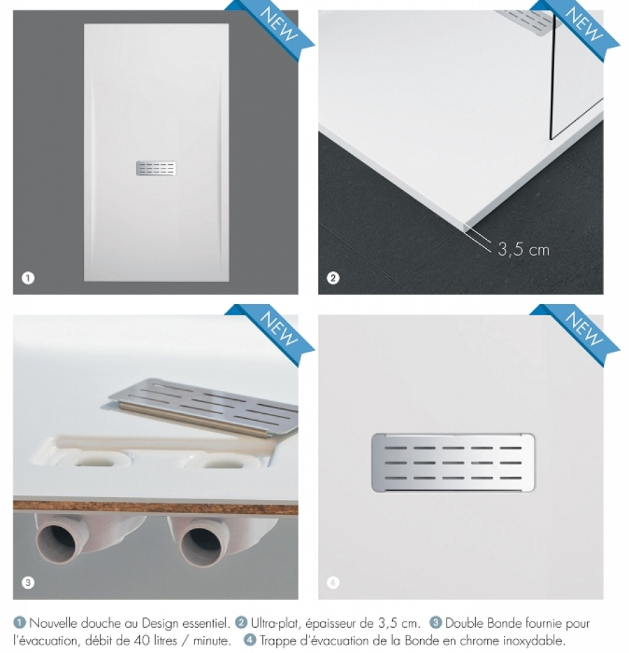 receveur de douche extra plat 140x90. Black Bedroom Furniture Sets. Home Design Ideas