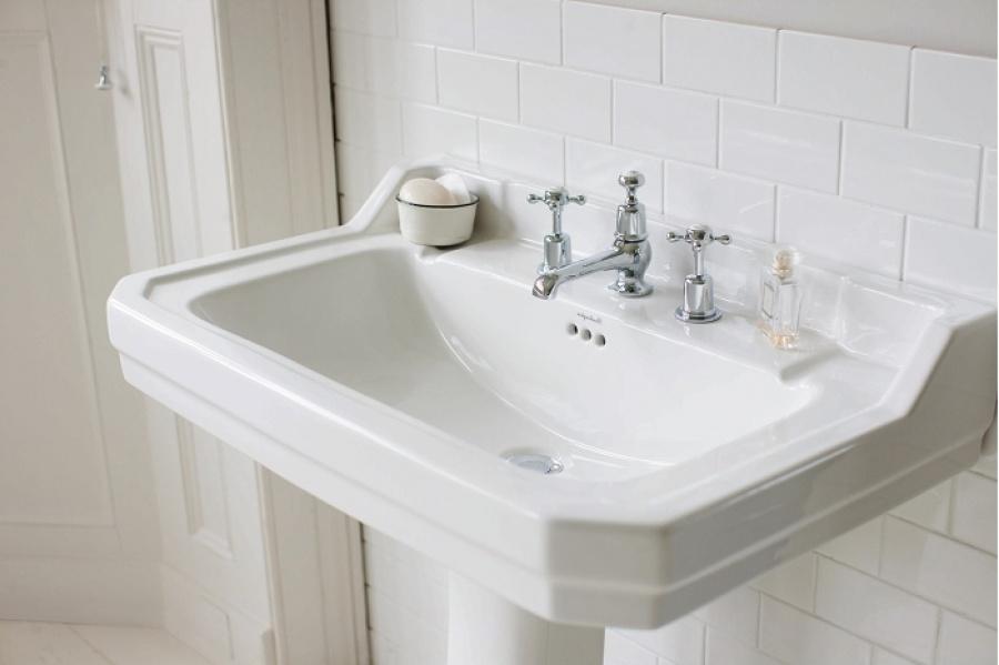 Vasque rectangulaire et colonne edouardien burlington 80 for Colonne salle de bain 80 cm largeur