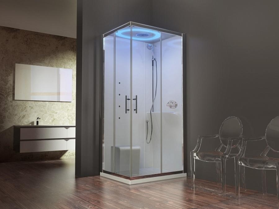 cabine eon a100x80 hydromassage droite receveur extra plat meuble de salle. Black Bedroom Furniture Sets. Home Design Ideas