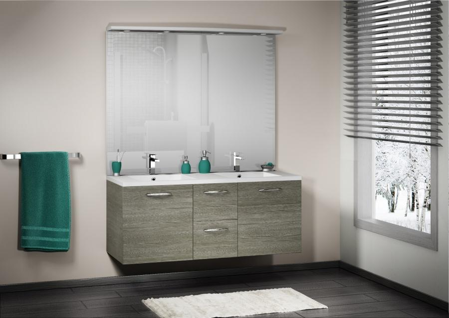 meuble double vasque integrale 140 cm sci e gris meuble de salle de bain. Black Bedroom Furniture Sets. Home Design Ideas