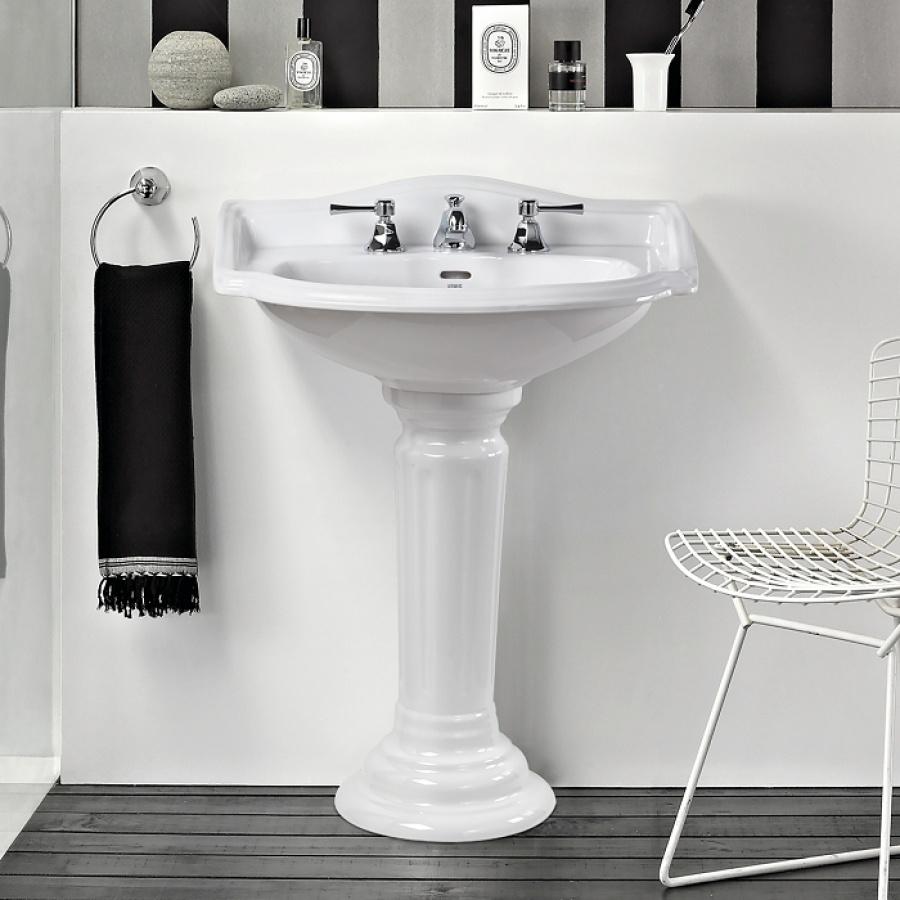 lavabo 3 trous colonne r tro c ramique blanche julia meuble de salle de. Black Bedroom Furniture Sets. Home Design Ideas