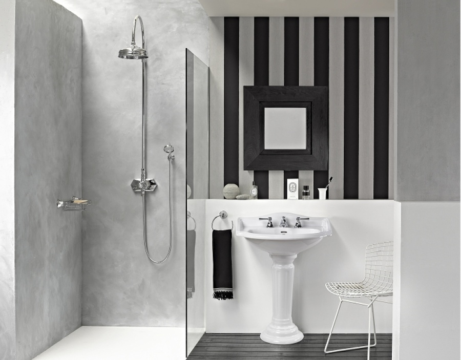 lavabo 3 trous colonne r tro c ramique blanche julia meuble de salle de. Black Bedroom Furniture Sets. Home Design Ideas