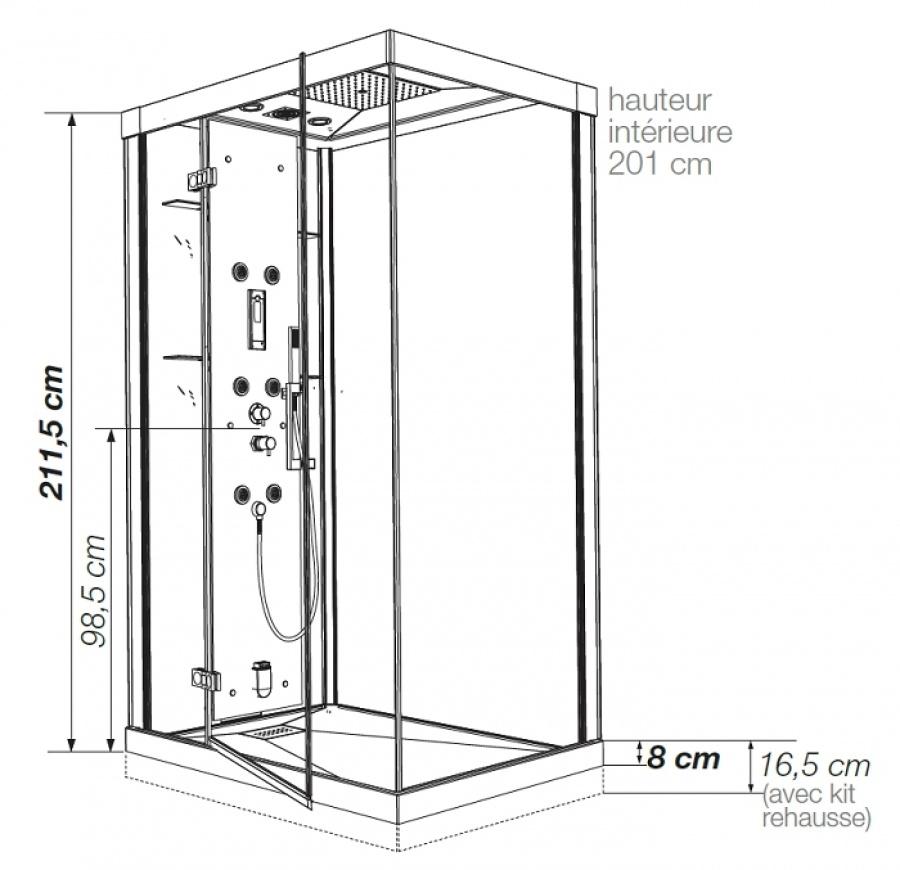 cabine de douche thermostatique 100x80 kineform 100. Black Bedroom Furniture Sets. Home Design Ideas