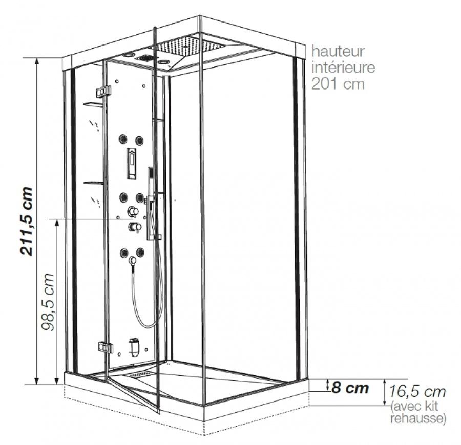 cabine de douche kineform hydro hammam 120x90 pivotante perle noire. Black Bedroom Furniture Sets. Home Design Ideas