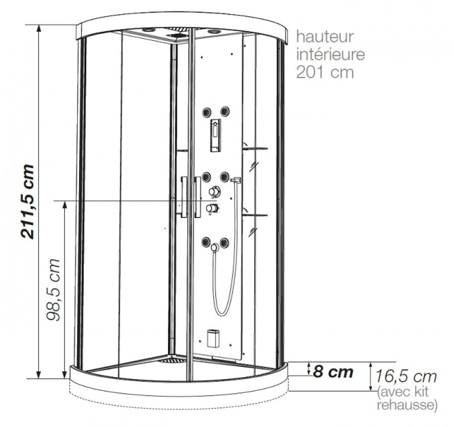 cabine de douche hydromassante 90x90 kineform r acier meuble de salle de. Black Bedroom Furniture Sets. Home Design Ideas