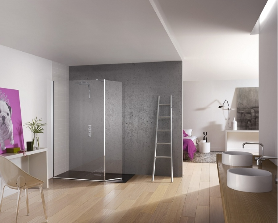 paroi de douche fixe volet pivotant kinespace duo 100 45. Black Bedroom Furniture Sets. Home Design Ideas