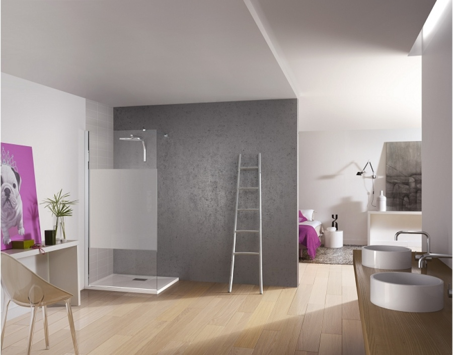 paroi de douche fixe kinespace solo avec bande centrale d polie 70 cm meuble. Black Bedroom Furniture Sets. Home Design Ideas