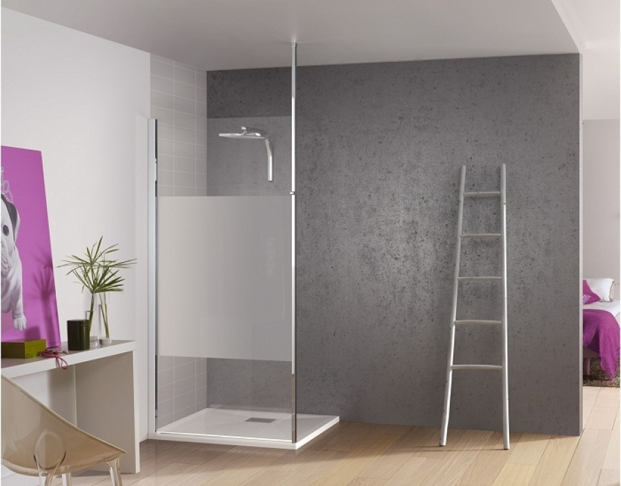 paroi de douche fixe kinespace solo avec m t avec bande centrale d polie 70 cm. Black Bedroom Furniture Sets. Home Design Ideas
