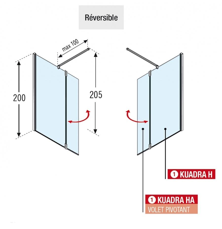 paroi de douche fixe volet pivotant kuadra h2 100 37 s rigraphi meuble de. Black Bedroom Furniture Sets. Home Design Ideas