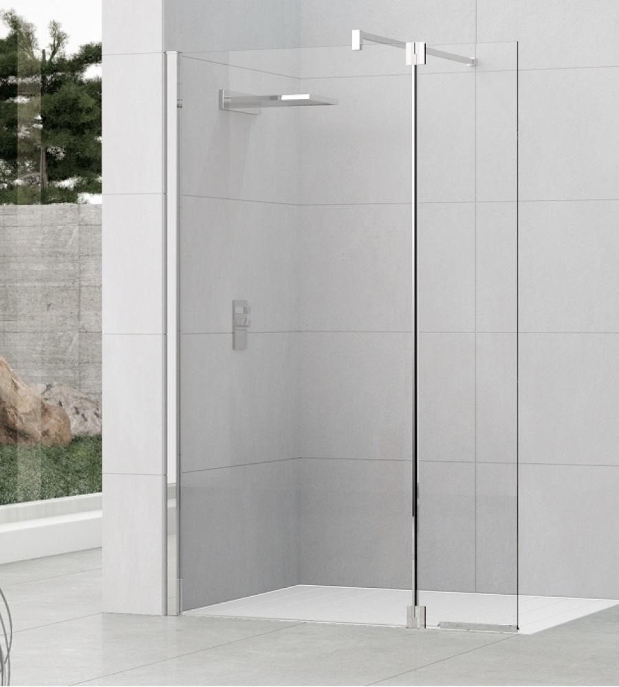 Paroi de douche fixe volet pivotant kuadra h2 110 37 transparent sanitair - Paroi douche lapeyre ...