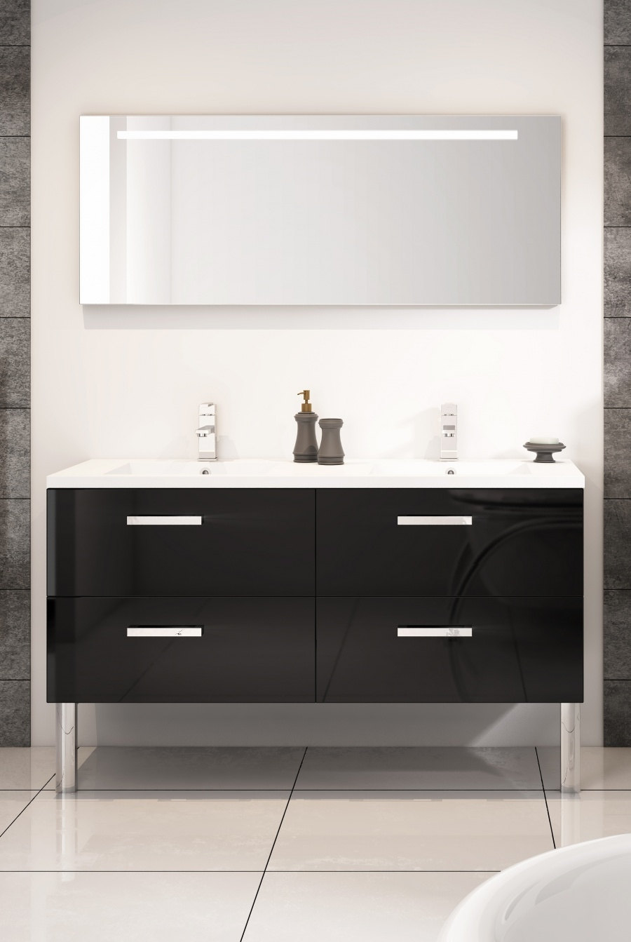 meuble double vasque loft 140 cm cristal noir meuble de salle de bain. Black Bedroom Furniture Sets. Home Design Ideas