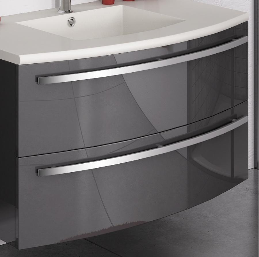 Meuble simple vasque ondine 100 cm laque anthracite for Meuble sous vasque 100 cm