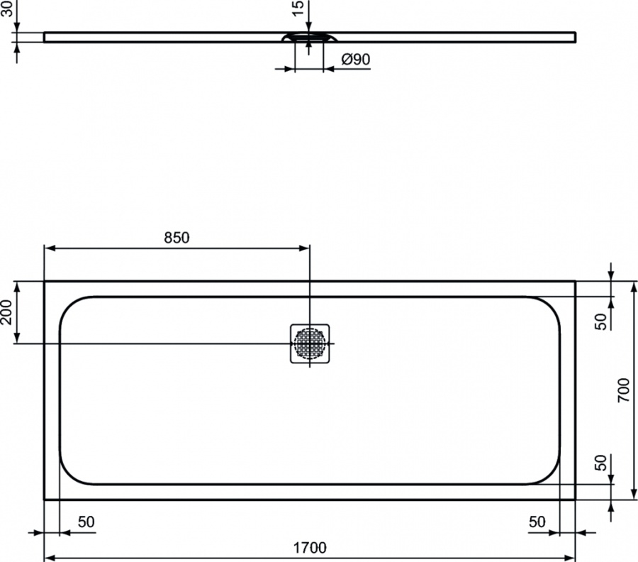 receveur de douche ultra flat s noir 170x70 meuble de salle de bain douche. Black Bedroom Furniture Sets. Home Design Ideas