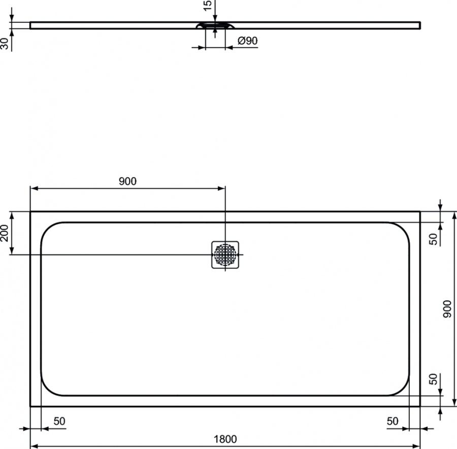 receveur de douche ultra flat s noir 180x90 sanitairepro. Black Bedroom Furniture Sets. Home Design Ideas