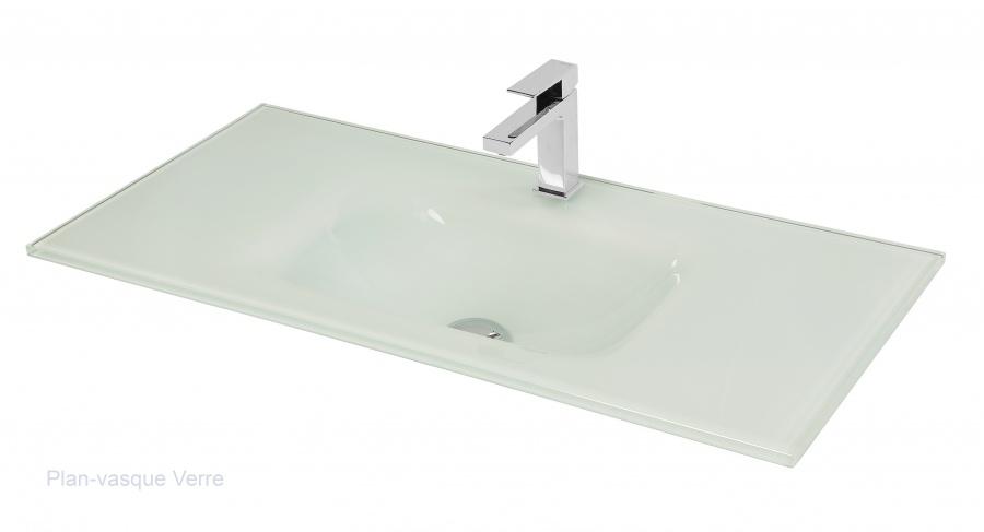 Meuble simple vasque swing 90 cm cristal noir meuble de salle de bain - Meuble vasque 90 cm ...