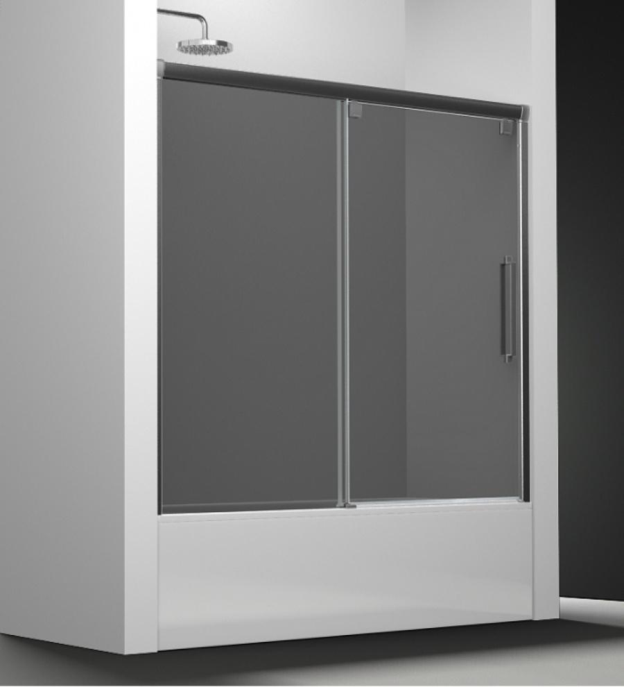 Paroi de baignoire verre fum 1 panneau coulissant 180cm version droite san - Panneau de baignoire ...