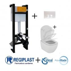 Ensemble Bâti-support Evo + plaque Blanche + cuvette Tesi sans Bride