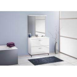 Meuble simple vasque 90 cm CHANGO Cristal Blanc