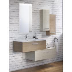 Meuble simple vasque SWING 90 cm Sciée brun et Sciée Blanc