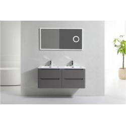 Meuble double vasque 120cm Toola Argile miroir lite