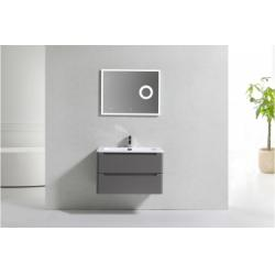 Meuble simple vasque 80cm Toola Argile miroir Lite