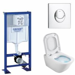 Pack WC Grohe Rapid SL + Cuvette GAP Cleanrim Roca + Plaque Chromée