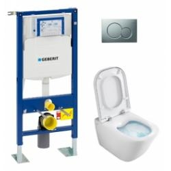Pack WC Geberit UP320 + Cuvette GAP sans bride Cleanrim + plaque Sigma CHR brillante