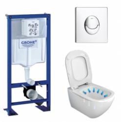 Pack WC Grohe Rapid SL + Cuvette Tesi AquaBlade Ideal Standard + Plaque Chromée