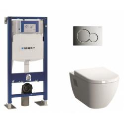 Pack WC Geberit UP320 + Cuvette D-Light Vitraflush 2.0 + plaque Sigma chromée brillante