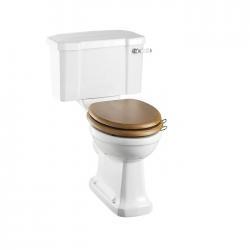 WC Compact BURLINGTON avec levier de réservoir en céramique 520 - Abattant frein de chute Chêne