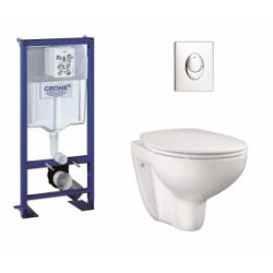 Pack WC Grohe Rapid SL + Cuvette GROHE sans bride Bau Ceramic + Plaque Chromée