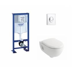 Pack WC Grohe Rapid SL + Cuvette Prima+ ALLIA + Plaque Chromée