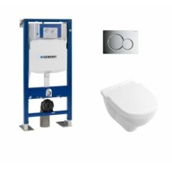 Pack WC Geberit UP320 + Cuvette O'Novo VILLEROY + plaque Sigma Chromé Brillant